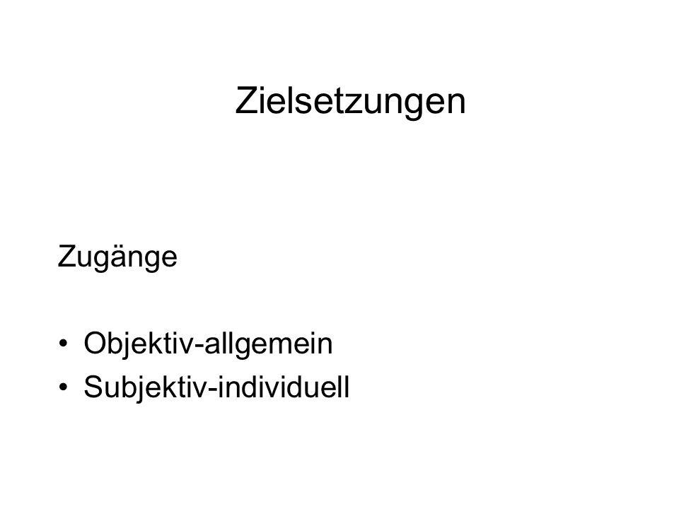 Zugänge Objektiv-allgemein Subjektiv-individuell Zielsetzungen