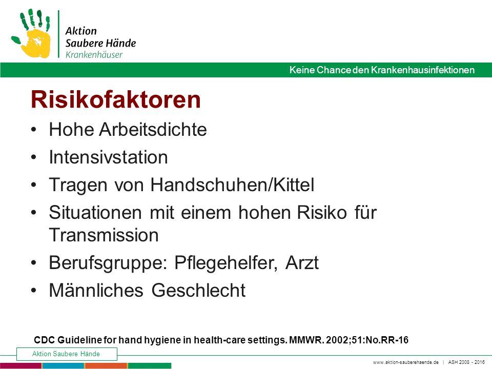 www.aktion-sauberehaende.de   ASH 2008 - 2016 Keine Chance den Krankenhausinfektionen Aktion Saubere Hände Keine Chance den Krankenhausinfektionen Ris