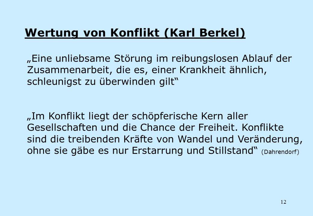 """12 Wertung von Konflikt (Karl Berkel) """"Eine unliebsame Störung im reibungslosen Ablauf der Zusammenarbeit, die es, einer Krankheit ähnlich, schleunigs"""