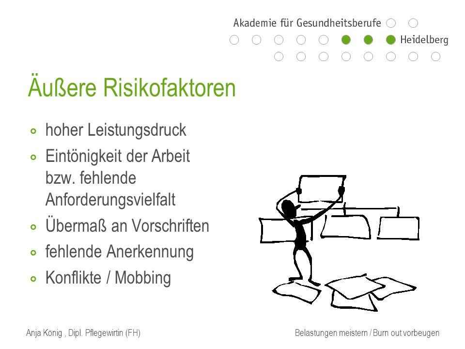 Äußere Risikofaktoren ⃘ hoher Leistungsdruck ⃘ Eintönigkeit der Arbeit bzw.