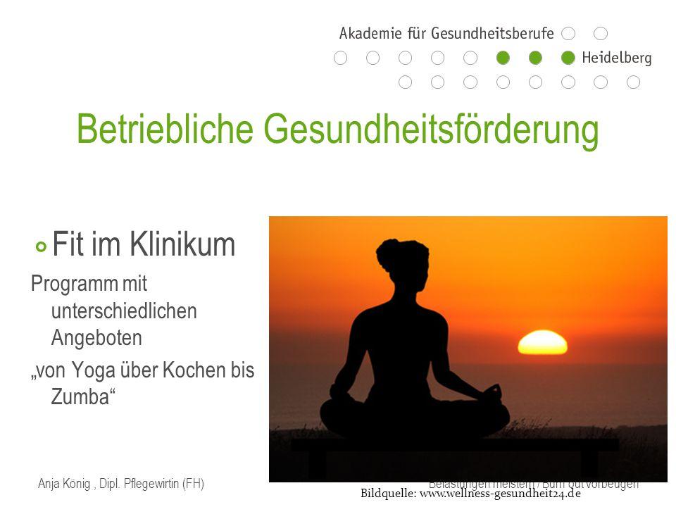 """Betriebliche Gesundheitsförderung ⃘ Fit im Klinikum Programm mit unterschiedlichen Angeboten """"von Yoga über Kochen bis Zumba Bildquelle: www.wellness-gesundheit24.de"""