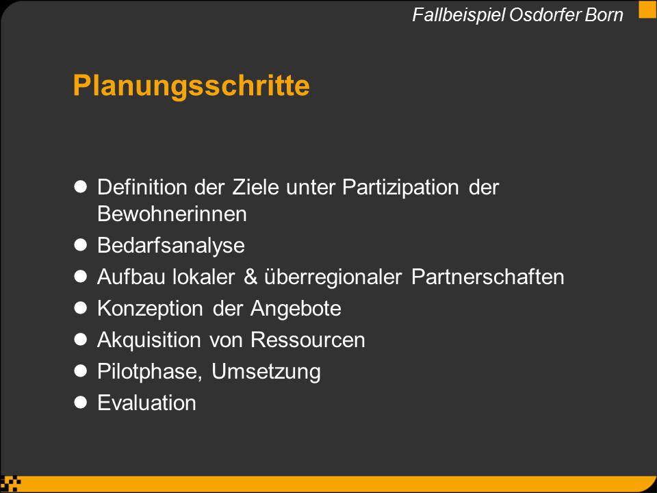 Planungsschritte Definition der Ziele unter Partizipation der Bewohnerinnen Bedarfsanalyse Aufbau lokaler & überregionaler Partnerschaften Konzeption