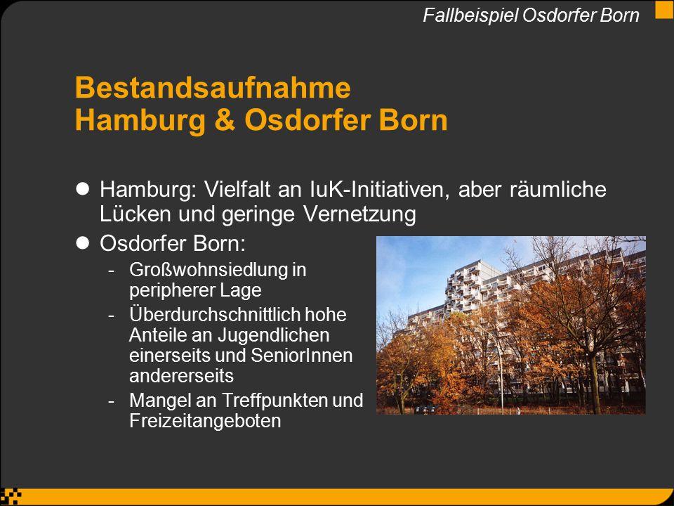 Bestandsaufnahme Hamburg & Osdorfer Born Hamburg: Vielfalt an IuK-Initiativen, aber räumliche Lücken und geringe Vernetzung Osdorfer Born: -Großwohnsi