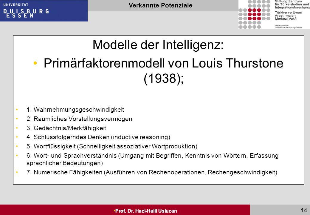 Seite 13 Prof. Dr. Haci-Halil Uslucan Verkannte Potenziale Prof. Dr. Haci-Halil Uslucan 13 Modelle der Intelligenz: Je nach theoretischer Orientierung