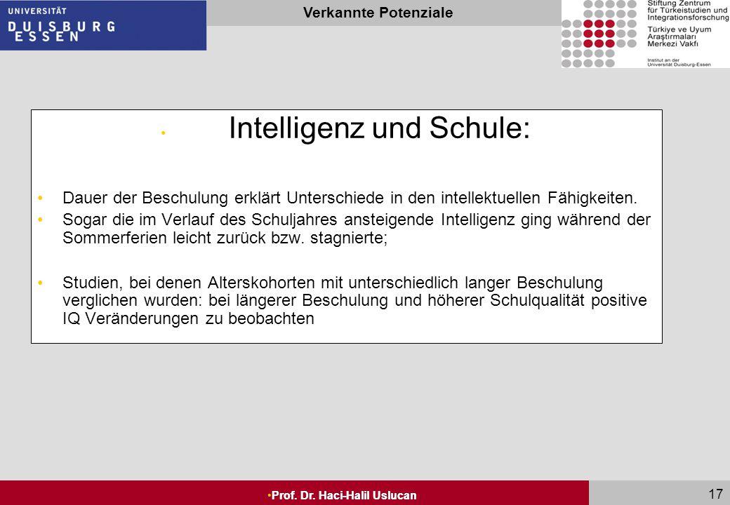 Seite 16 Prof. Dr. Haci-Halil Uslucan Verkannte Potenziale Prof. Dr. Haci-Halil Uslucan 16 Rolle der Kultur bei der Ausprägung der Intelligenz: Bisher