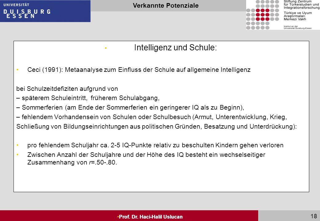 Seite 17 Prof. Dr. Haci-Halil Uslucan Verkannte Potenziale Prof. Dr. Haci-Halil Uslucan 17 Intelligenz und Schule: Dauer der Beschulung erklärt Unters