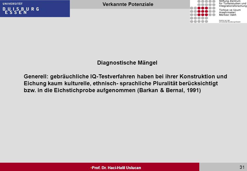 Seite 30 Prof. Dr. Haci-Halil Uslucan Verkannte Potenziale Prof. Dr. Haci-Halil Uslucan 30 Diagnostische Mängel Wissensinhalte der IQ-Tests für Migran