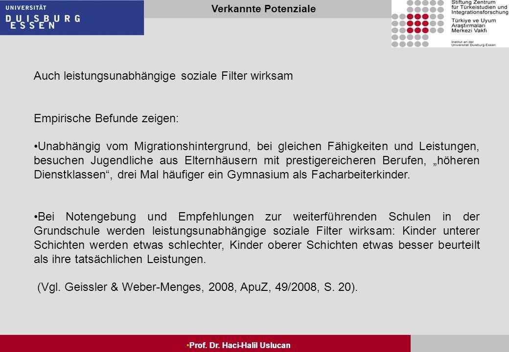 """Seite 5 Prof. Dr. Haci-Halil Uslucan Verkannte Potenziale Prof. Dr. Haci-Halil Uslucan Im internationalen Vergleich: """"Kultur des Förderns"""" in Deutschl"""