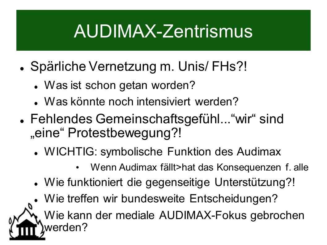 AUDIMAX-Zentrismus Spärliche Vernetzung m. Unis/ FHs .
