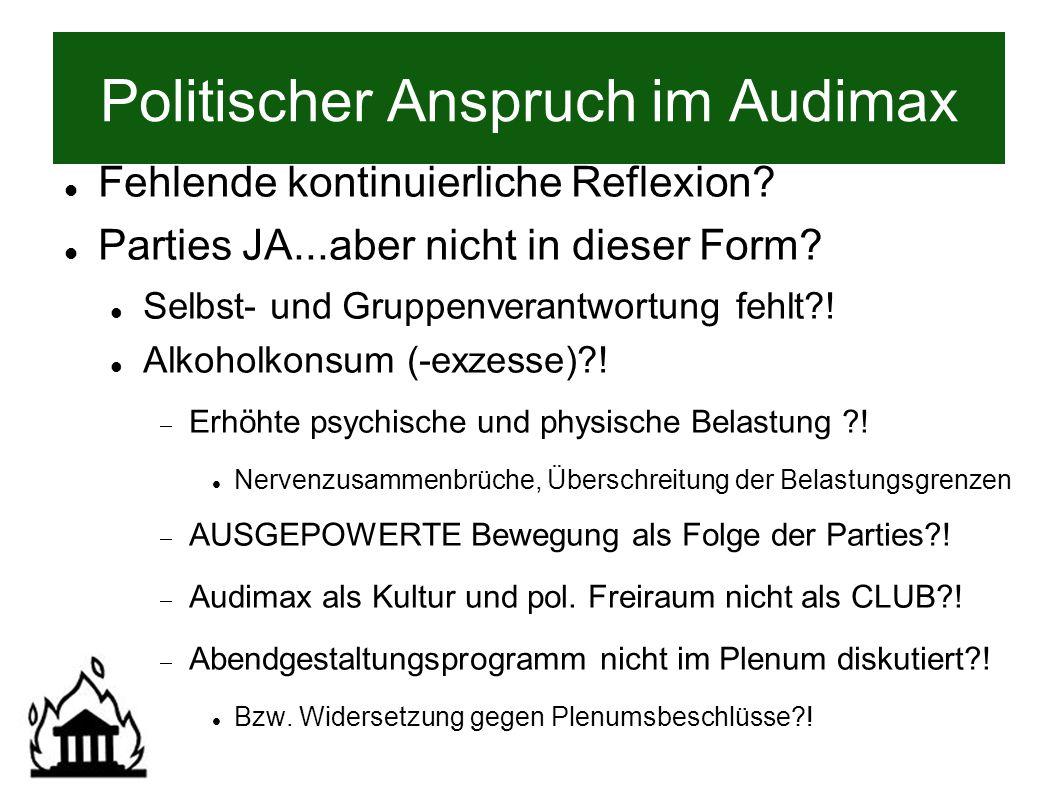 Politischer Anspruch im Audimax Fehlende kontinuierliche Reflexion.