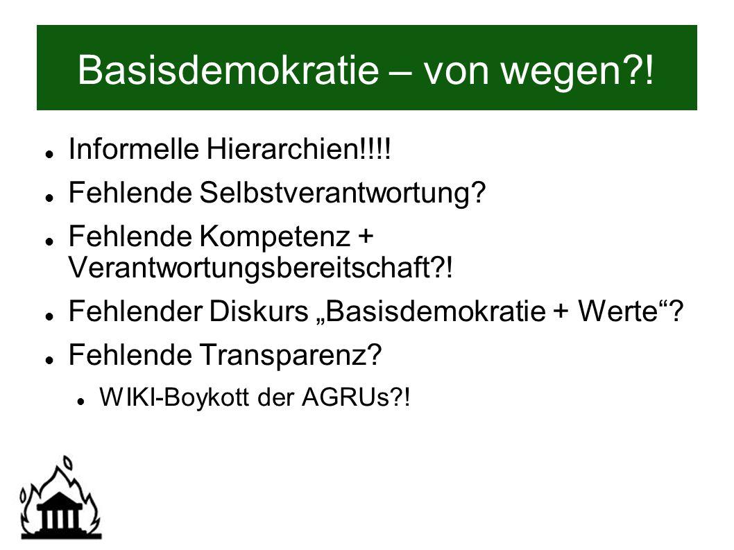 Basisdemokratie – von wegen . Informelle Hierarchien!!!.