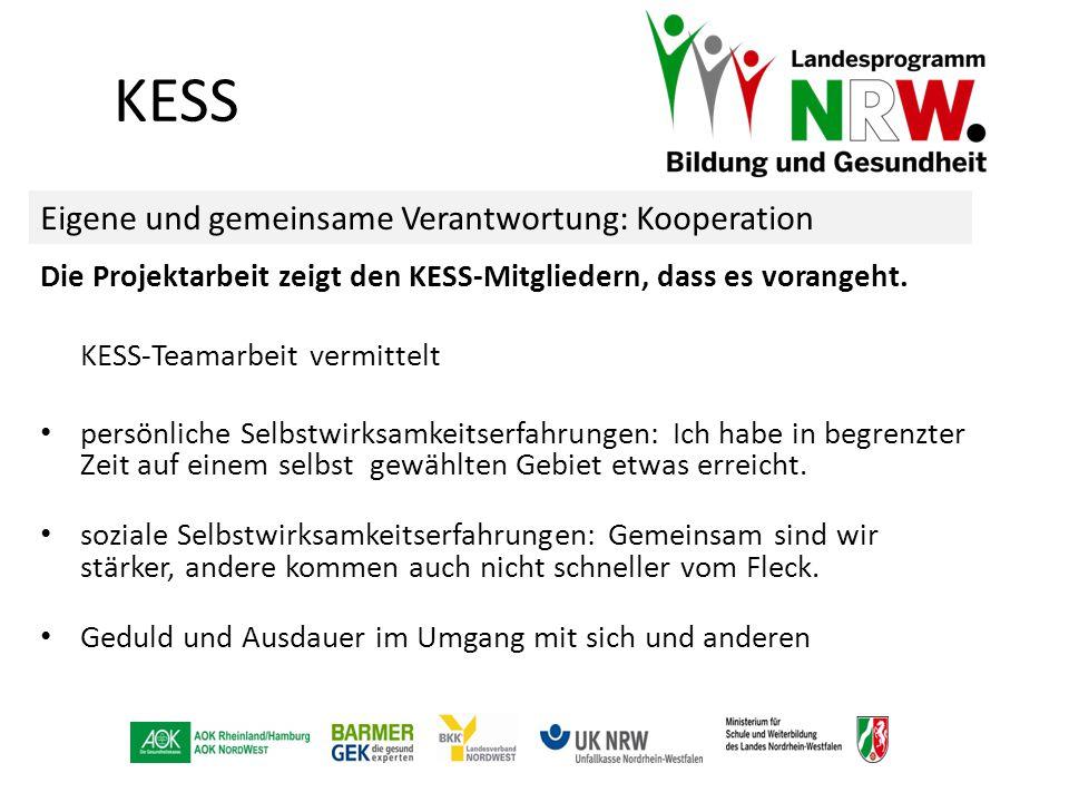 Die Projektarbeit zeigt den KESS-Mitgliedern, dass es vorangeht. KESS-Teamarbeit vermittelt persönliche Selbstwirksamkeitserfahrungen: Ich habe in beg
