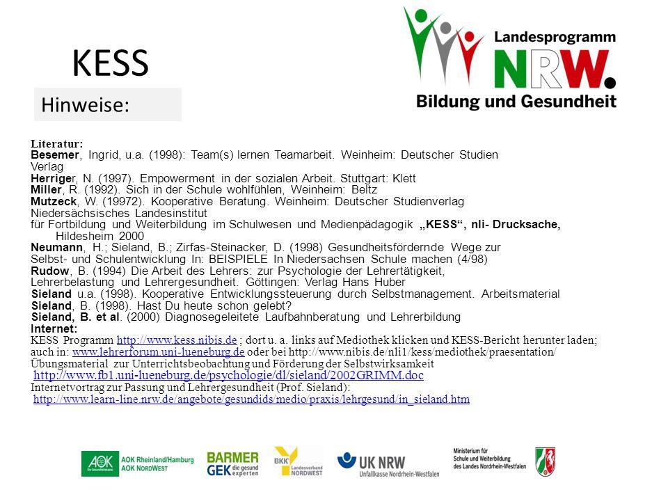 Literatur: Besemer, Ingrid, u.a. (1998): Team(s) lernen Teamarbeit. Weinheim: Deutscher Studien Verlag Herriger, N. (1997). Empowerment in der soziale
