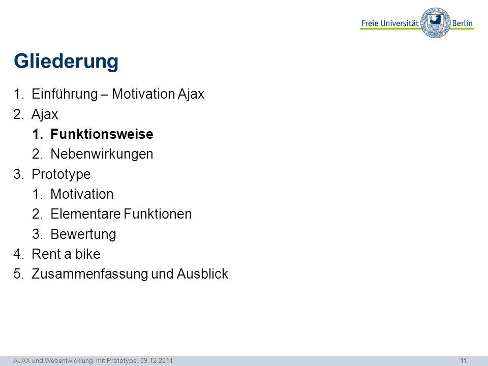 11 AJAX und Webentwicklung mit Prototype, 09.12.2011 Gliederung 1.Einführung – Motivation Ajax 2.Ajax 1.Funktionsweise 2.Nebenwirkungen 3.Prototype 1.