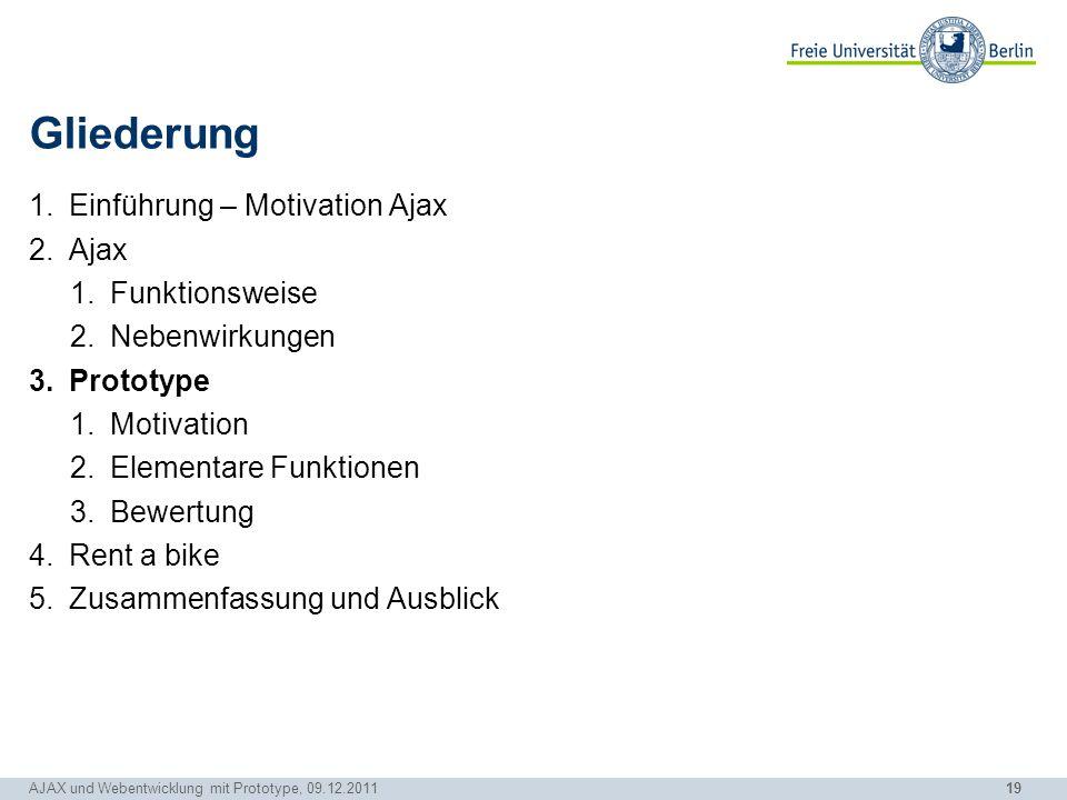 19 AJAX und Webentwicklung mit Prototype, 09.12.2011 Gliederung 1.Einführung – Motivation Ajax 2.Ajax 1.Funktionsweise 2.Nebenwirkungen 3.Prototype 1.