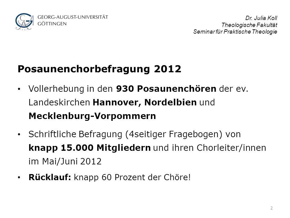 Posaunenchorbefragung 2012 Vollerhebung in den 930 Posaunenchören der ev.