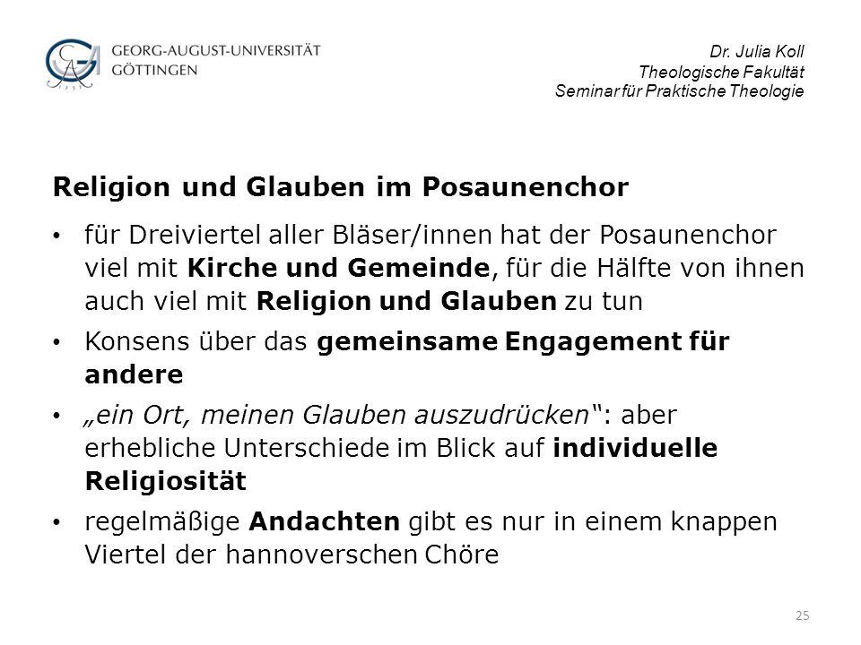 Dr. Julia Koll Theologische Fakultät Seminar für Praktische Theologie Religion und Glauben im Posaunenchor für Dreiviertel aller Bläser/innen hat der