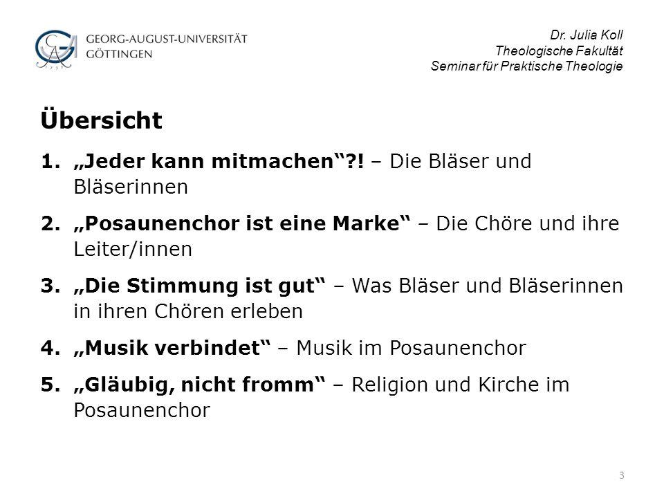 """Dr.Julia Koll Theologische Fakultät Seminar für Praktische Theologie 1.""""Jeder kann mitmachen ?."""