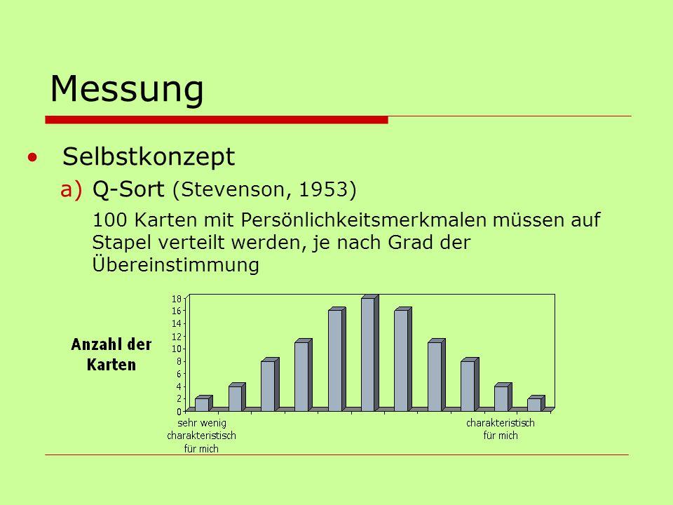Messung Selbstkonzept a)Q-Sort (Stevenson, 1953) 100 Karten mit Persönlichkeitsmerkmalen müssen auf Stapel verteilt werden, je nach Grad der Übereinst