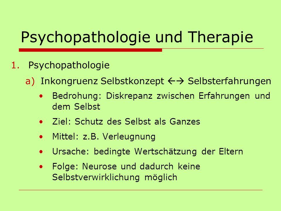 Psychopathologie und Therapie 1.Psychopathologie a)Inkongruenz Selbstkonzept  Selbsterfahrungen Bedrohung: Diskrepanz zwischen Erfahrungen und dem S