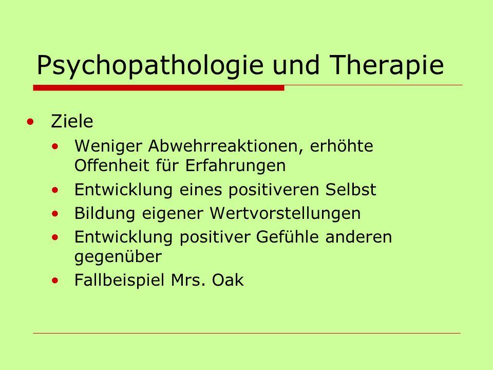 Psychopathologie und Therapie Ziele Weniger Abwehrreaktionen, erhöhte Offenheit für Erfahrungen Entwicklung eines positiveren Selbst Bildung eigener W