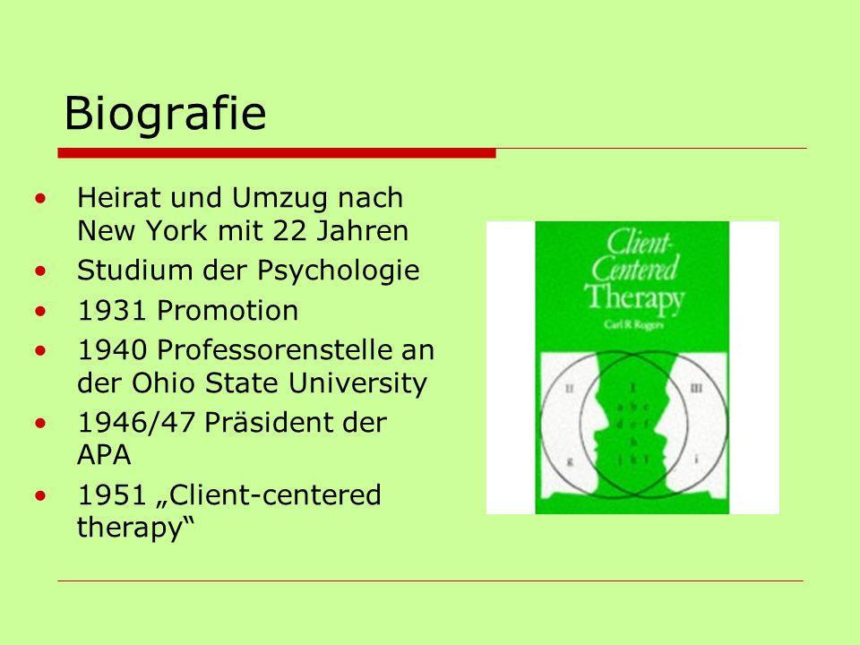 Biografie Heirat und Umzug nach New York mit 22 Jahren Studium der Psychologie 1931 Promotion 1940 Professorenstelle an der Ohio State University 1946