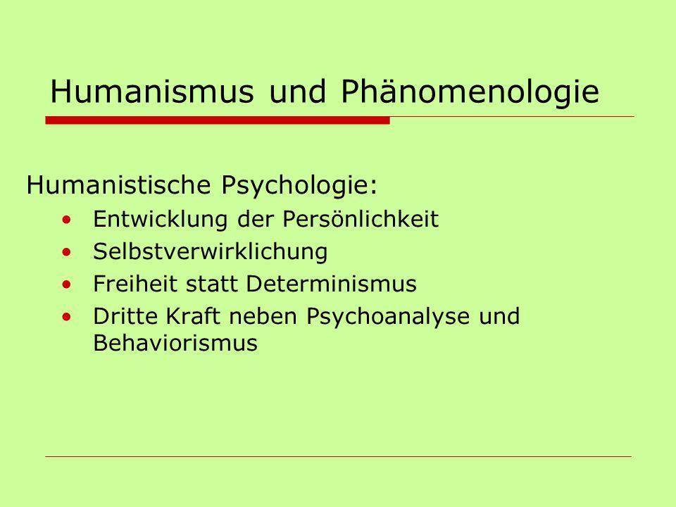 Humanismus und Phänomenologie Humanistische Psychologie: Entwicklung der Persönlichkeit Selbstverwirklichung Freiheit statt Determinismus Dritte Kraft