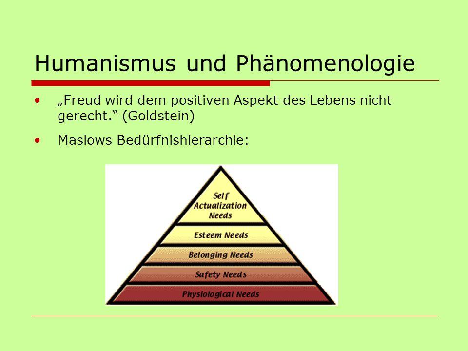 """Humanismus und Phänomenologie """"Freud wird dem positiven Aspekt des Lebens nicht gerecht."""" (Goldstein) Maslows Bedürfnishierarchie:"""