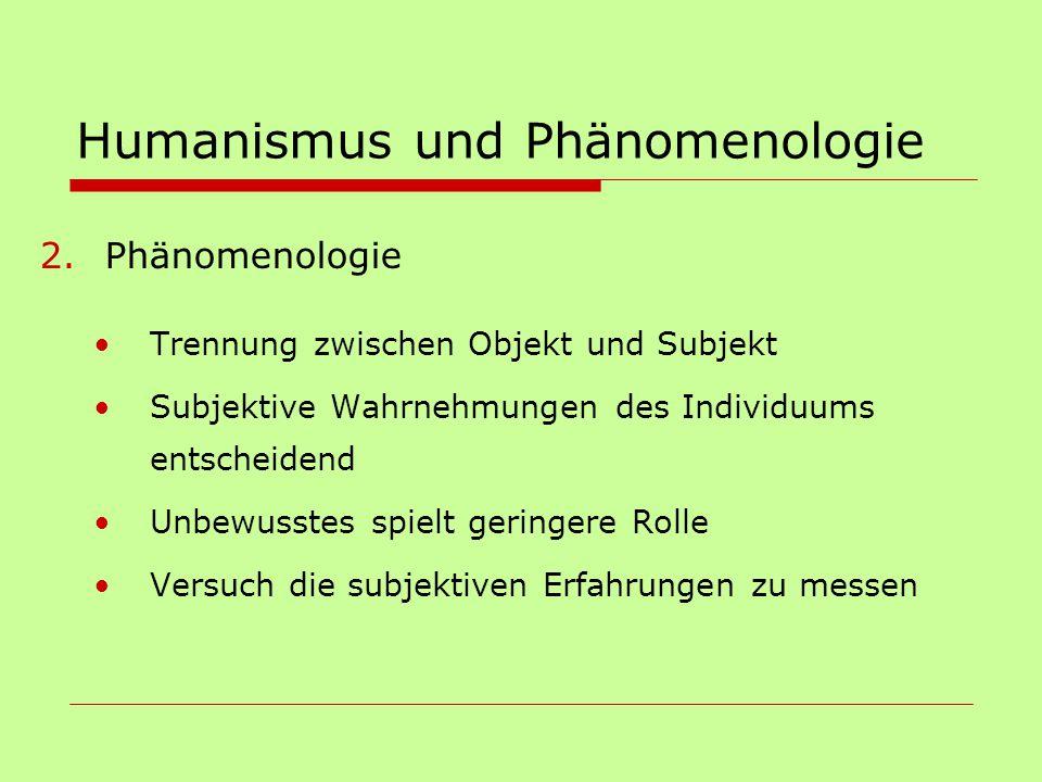 Humanismus und Phänomenologie 2.Phänomenologie Trennung zwischen Objekt und Subjekt Subjektive Wahrnehmungen des Individuums entscheidend Unbewusstes