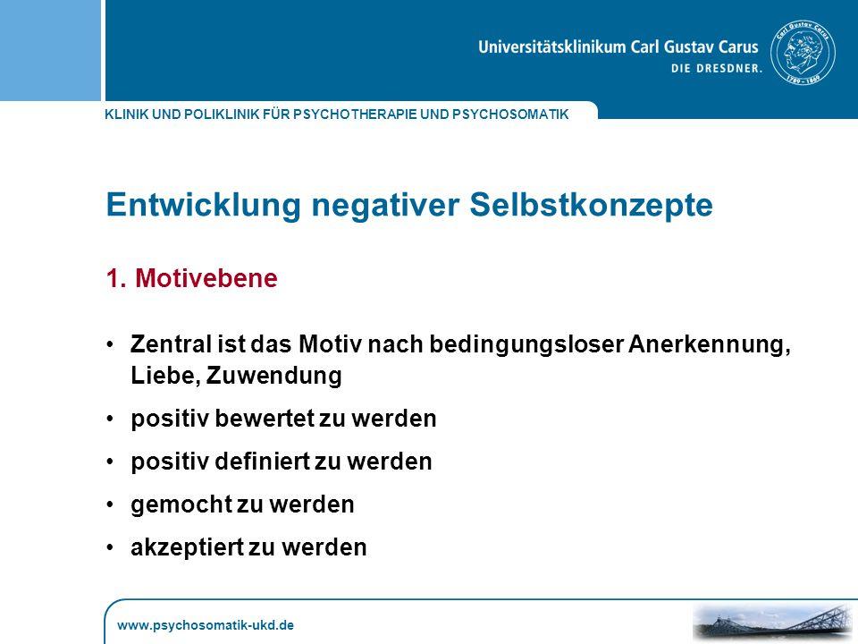KLINIK UND POLIKLINIK FÜR PSYCHOTHERAPIE UND PSYCHOSOMATIK www.psychosomatik-ukd.de Entwicklung negativer Selbstkonzepte 1.