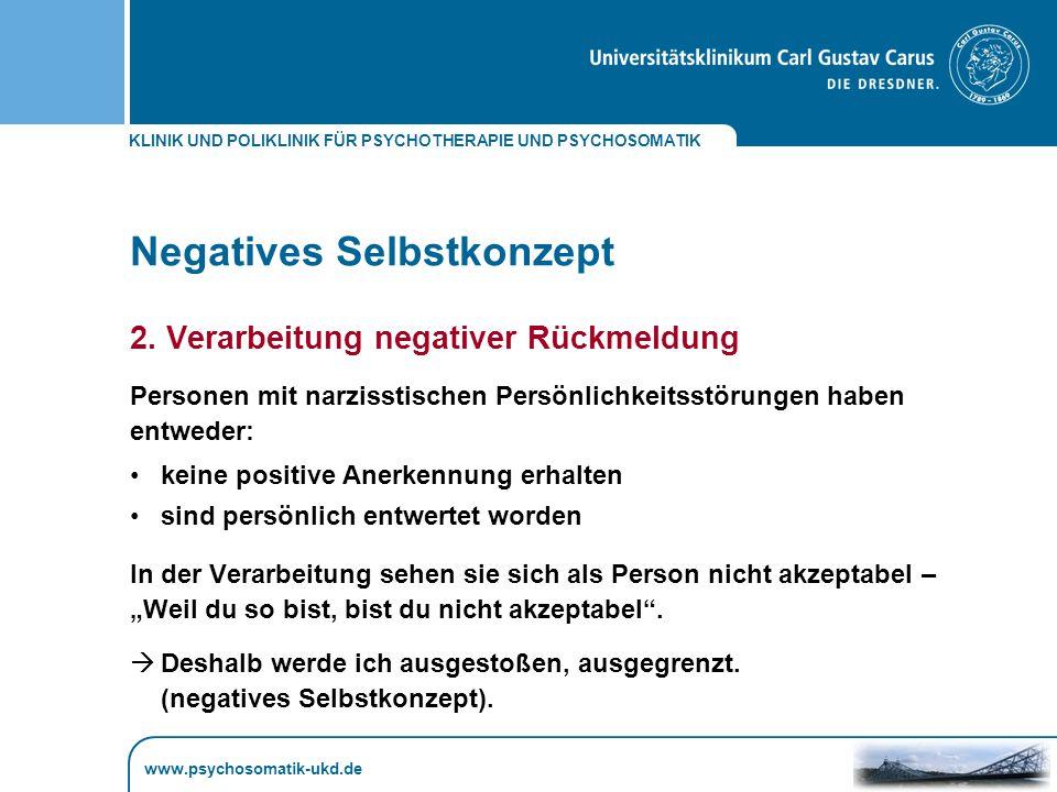 KLINIK UND POLIKLINIK FÜR PSYCHOTHERAPIE UND PSYCHOSOMATIK www.psychosomatik-ukd.de Negatives Selbstkonzept 2.