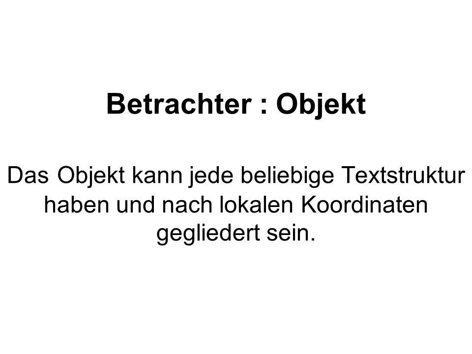Betrachter : Objekt Das Objekt kann jede beliebige Textstruktur haben und nach lokalen Koordinaten gegliedert sein.