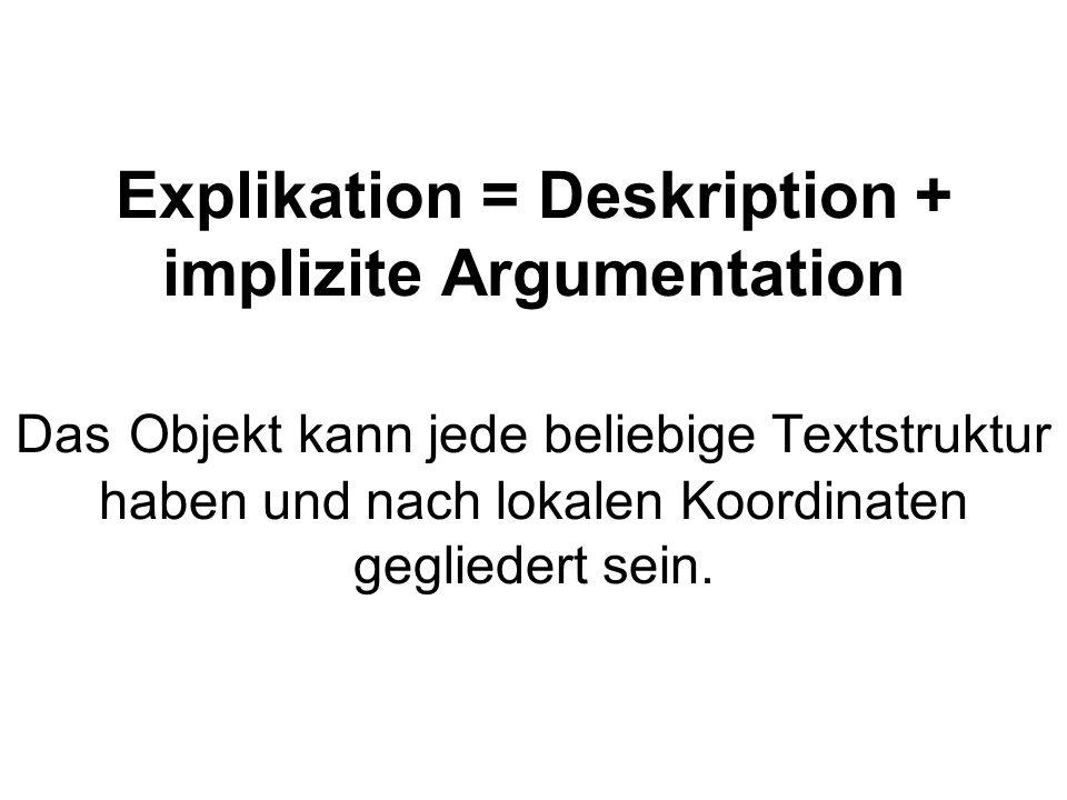 Explikation = Deskription + implizite Argumentation Das Objekt kann jede beliebige Textstruktur haben und nach lokalen Koordinaten gegliedert sein.