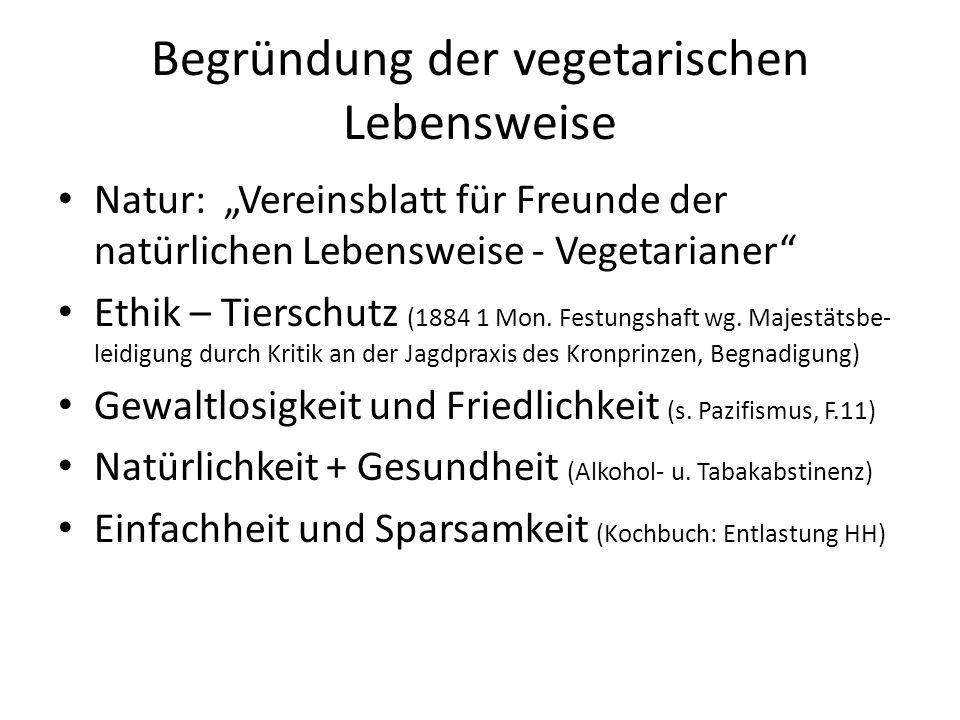 """Begründung der vegetarischen Lebensweise Natur: """"Vereinsblatt für Freunde der natürlichen Lebensweise - Vegetarianer"""" Ethik – Tierschutz (1884 1 Mon."""
