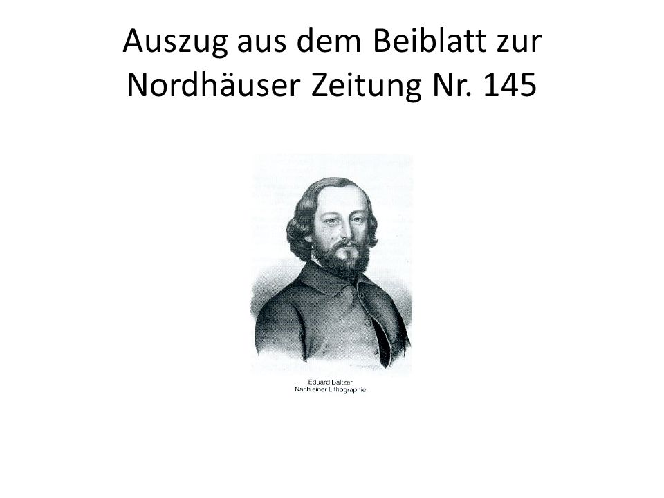 Auszug aus dem Beiblatt zur Nordhäuser Zeitung Nr. 145