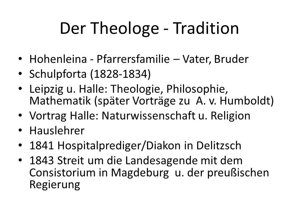 Der Theologe - Tradition Hohenleina - Pfarrersfamilie – Vater, Bruder Schulpforta (1828-1834) Leipzig u. Halle: Theologie, Philosophie, Mathematik (sp