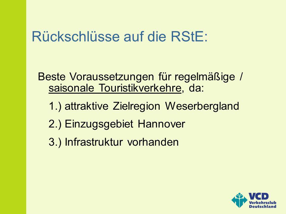 Rückschlüsse auf die RStE: Beste Voraussetzungen für regelmäßige / saisonale Touristikverkehre, da: 1.) attraktive Zielregion Weserbergland 2.) Einzug