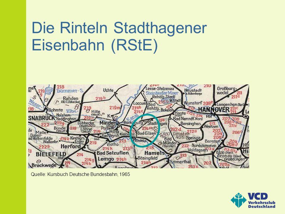 Die Rinteln Stadthagener Eisenbahn (RStE) Quelle: Kursbuch Deutsche Bundesbahn, 1965
