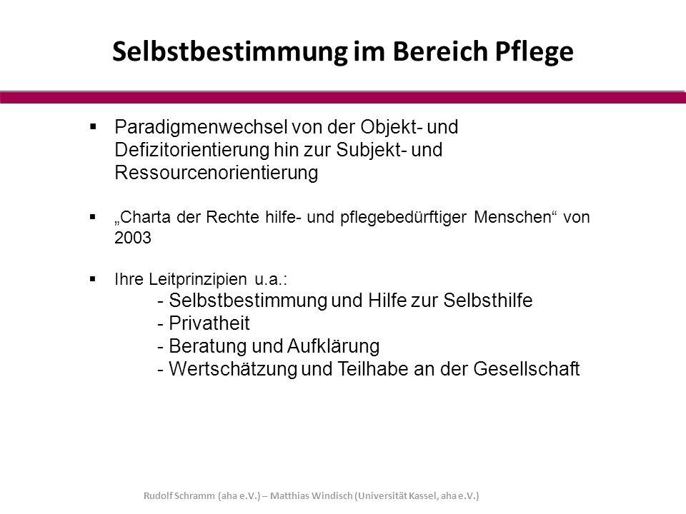 """ Paradigmenwechsel von der Objekt- und Defizitorientierung hin zur Subjekt- und Ressourcenorientierung  """"Charta der Rechte hilfe- und pflegebedürfti"""