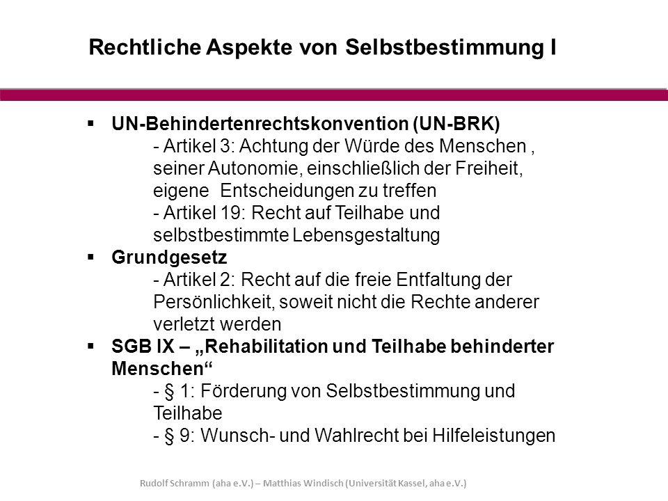 Rechtliche Aspekte von Selbstbestimmung I Rudolf Schramm (aha e.V.) – Matthias Windisch (Universität Kassel, aha e.V.)  UN-Behindertenrechtskonventio