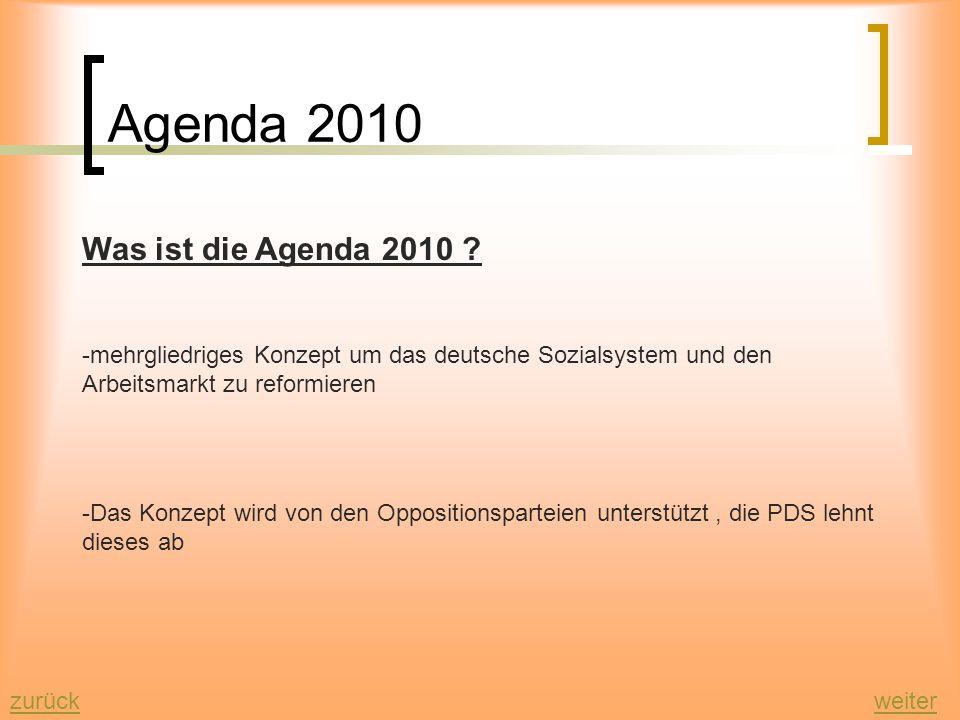 Agenda 2010 weiterzurück Was ist die Agenda 2010 .
