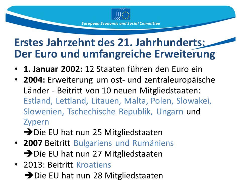 Erstes Jahrzehnt des 21. Jahrhunderts: Der Euro und umfangreiche Erweiterung 1. Januar 2002: 12 Staaten führen den Euro ein 2004: Erweiterung um ost-