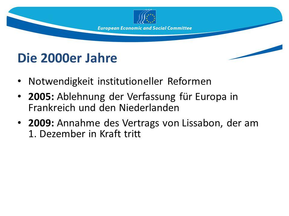 Die 2000er Jahre Notwendigkeit institutioneller Reformen 2005: Ablehnung der Verfassung für Europa in Frankreich und den Niederlanden 2009: Annahme de