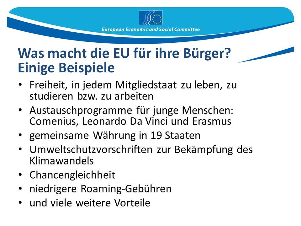 Was macht die EU für ihre Bürger? Einige Beispiele Freiheit, in jedem Mitgliedstaat zu leben, zu studieren bzw. zu arbeiten Austauschprogramme für jun