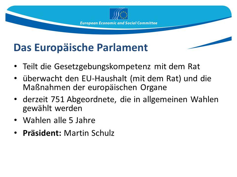 Das Europäische Parlament Teilt die Gesetzgebungskompetenz mit dem Rat überwacht den EU-Haushalt (mit dem Rat) und die Maßnahmen der europäischen Orga