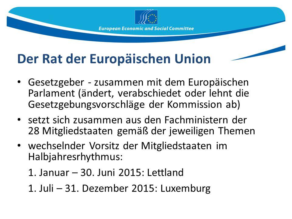 Der Rat der Europäischen Union Gesetzgeber - zusammen mit dem Europäischen Parlament (ändert, verabschiedet oder lehnt die Gesetzgebungsvorschläge der