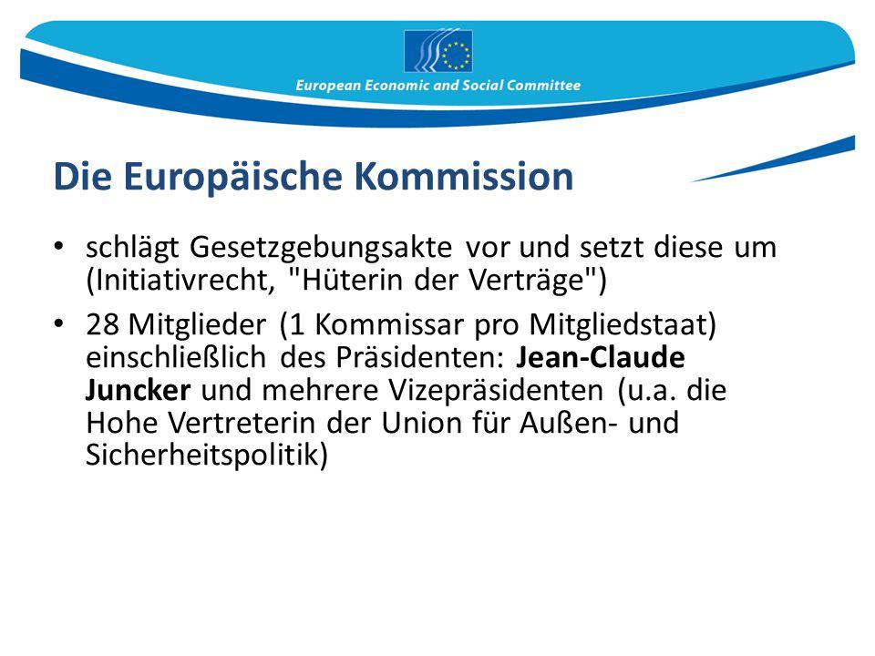 Die Europäische Kommission schlägt Gesetzgebungsakte vor und setzt diese um (Initiativrecht,