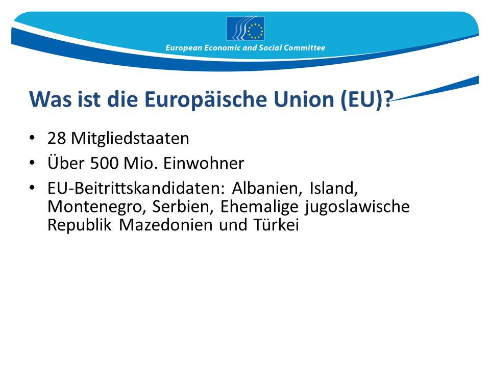 Was ist die Europäische Union (EU)? 28 Mitgliedstaaten Über 500 Mio. Einwohner EU-Beitrittskandidaten: Albanien, Island, Montenegro, Serbien, Ehemalig