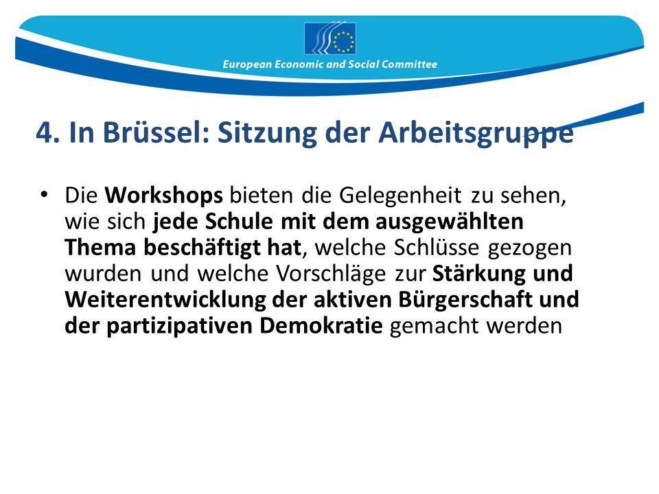 4. In Brüssel: Sitzung der Arbeitsgruppe Die Workshops bieten die Gelegenheit zu sehen, wie sich jede Schule mit dem ausgewählten Thema beschäftigt ha