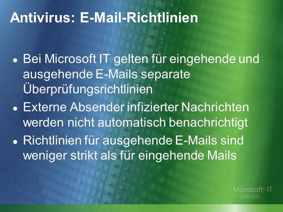 Antivirus: E-Mail-Richtlinien ● Bei Microsoft IT gelten für eingehende und ausgehende E-Mails separate Überprüfungsrichtlinien ● Externe Absender infizierter Nachrichten werden nicht automatisch benachrichtigt ● Richtlinien für ausgehende E-Mails sind weniger strikt als für eingehende Mails